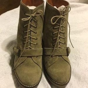 1937 Footwear Shoes - 1937 Footwear Suede Beige Wedge Bootie